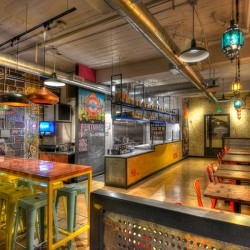 Interior design photo of Biju's Little Curry Shop located in downtown Denver, Colorado designed by Shike Design.