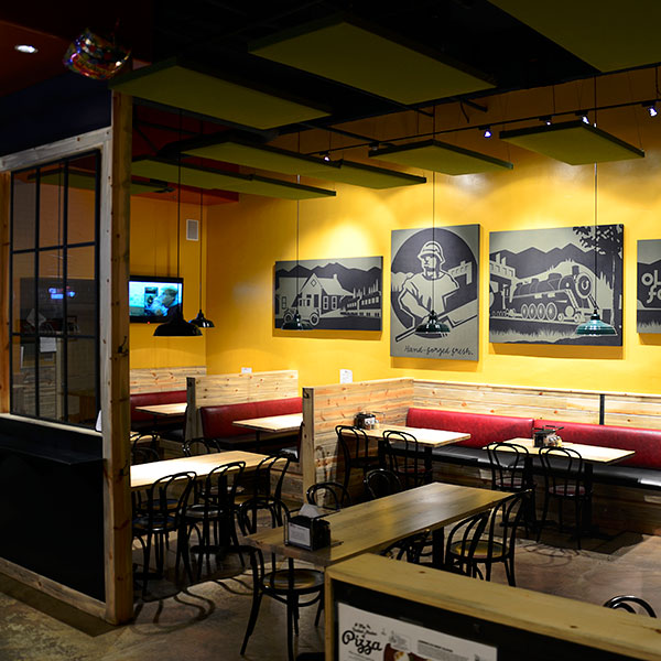 Interior design shot of the inside of Old Forde Pizza in Edwards, CO Custom designed byShike Design